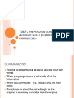 TOEFL preparation class – Academic skills part 2