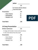 la song presentation criteria sheet-marks