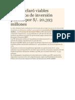 MEF declaró viables proyectos de inversión pública por S