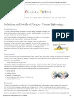 Flange Bolt-Up - Torque Tightening, Preload, Torque Procedures, Torque Sequence, Torque Wrenches, Preparation Flange Bolt-Up