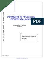 Project Preparation of Potash Alum From Alluminium Opt