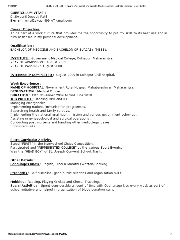mbbs doctor   resume cv format  cv sample  model  example