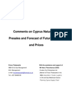 comments on cyprus natural gas presales and forecast of future prices and demand