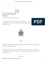 Entrusted by the Pope for 2015 Intentions for the Apostleship of Prayer