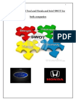Comparison of Ford and Honda and Brief SWOT for Both Companies (1)