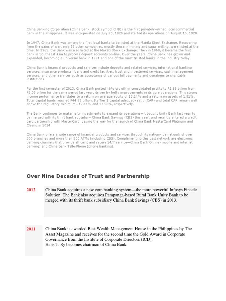 China Banking Corporation Banks Economic Institutions