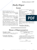 US Congressional Record Daily Digest 08 January 2007