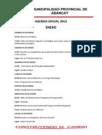 Agenda Oficial 2013 Hasta Setiembre