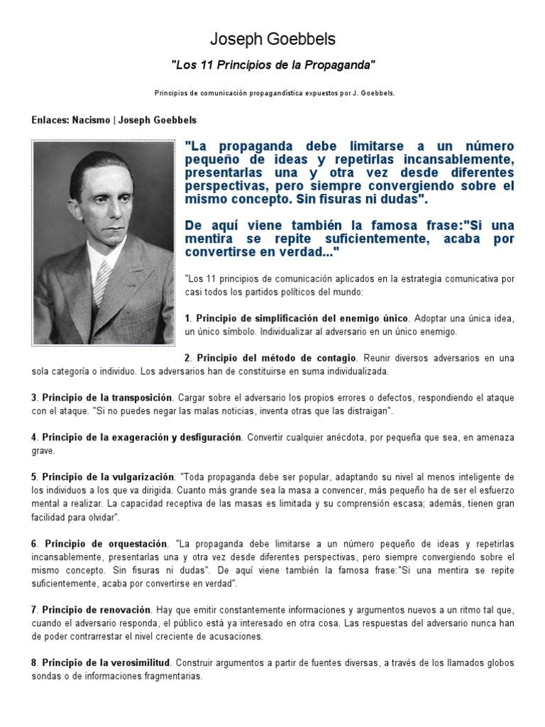 Los 11 Principios De La Propaganda Joseph Goebbels