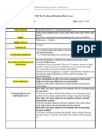 reflective lesson plan model- mini-lesson