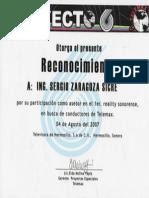 Reconocimiento como Asesor en el 1er. reality sonorense en busca de conductores de Telemax. Proyecto 6.