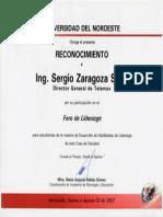 Reconocimiento por participación como expositor en Foro de Liderazgo en la Universidad del Noroeste.