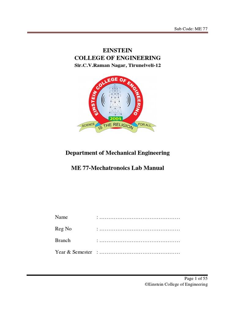 ME2405 Mechatronics Lab Manual   Microcontroller   Pointer (Computer  Programming)
