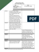 artifact summary sheet bcheng