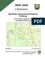 """Spezielle artenschutzrechtliche Prüfung zum Bebauungsplan Nr. 54 """"Windpark Bollenhagen"""""""