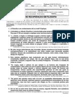 PROVA DE RECUPERAÇÃO filosofia 1 semestre 2009