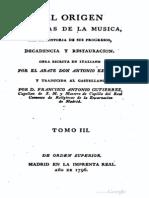 Antonio Eximeno - Del Origen y Reglas de La Musica