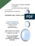 Plan de Unidad de Lengua Castellana Cuarto Grado