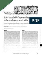 Sobre la condición fragmentaria y menesterosa de los estudios de comunicación