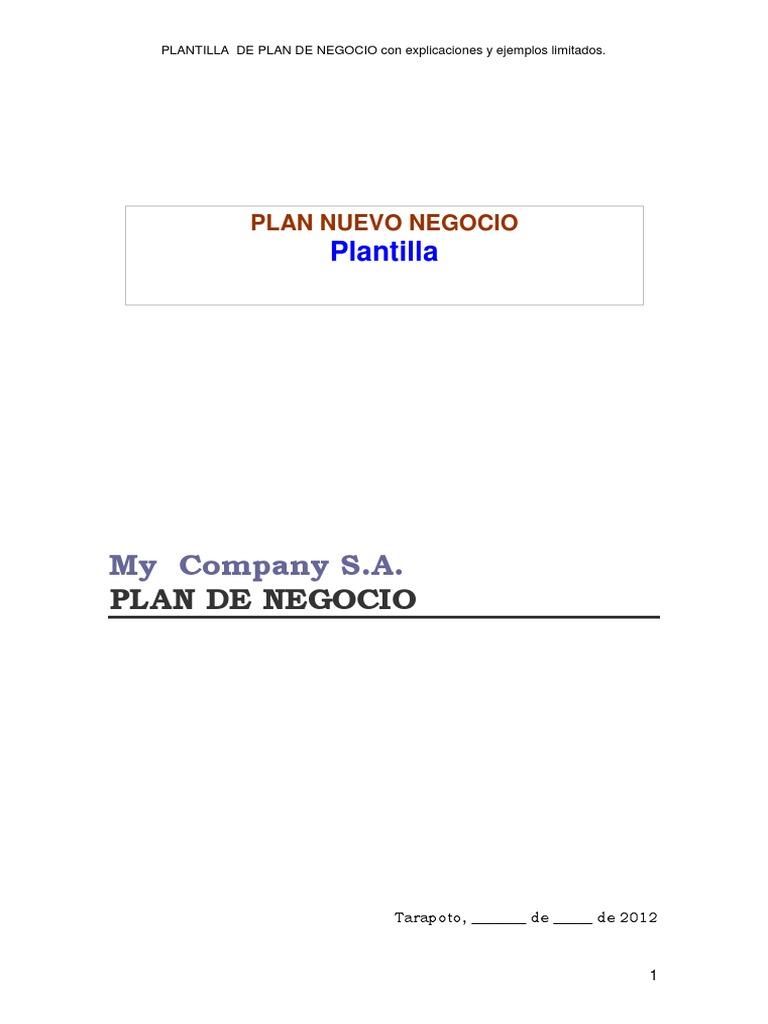 Plantilla Plan de Negocio