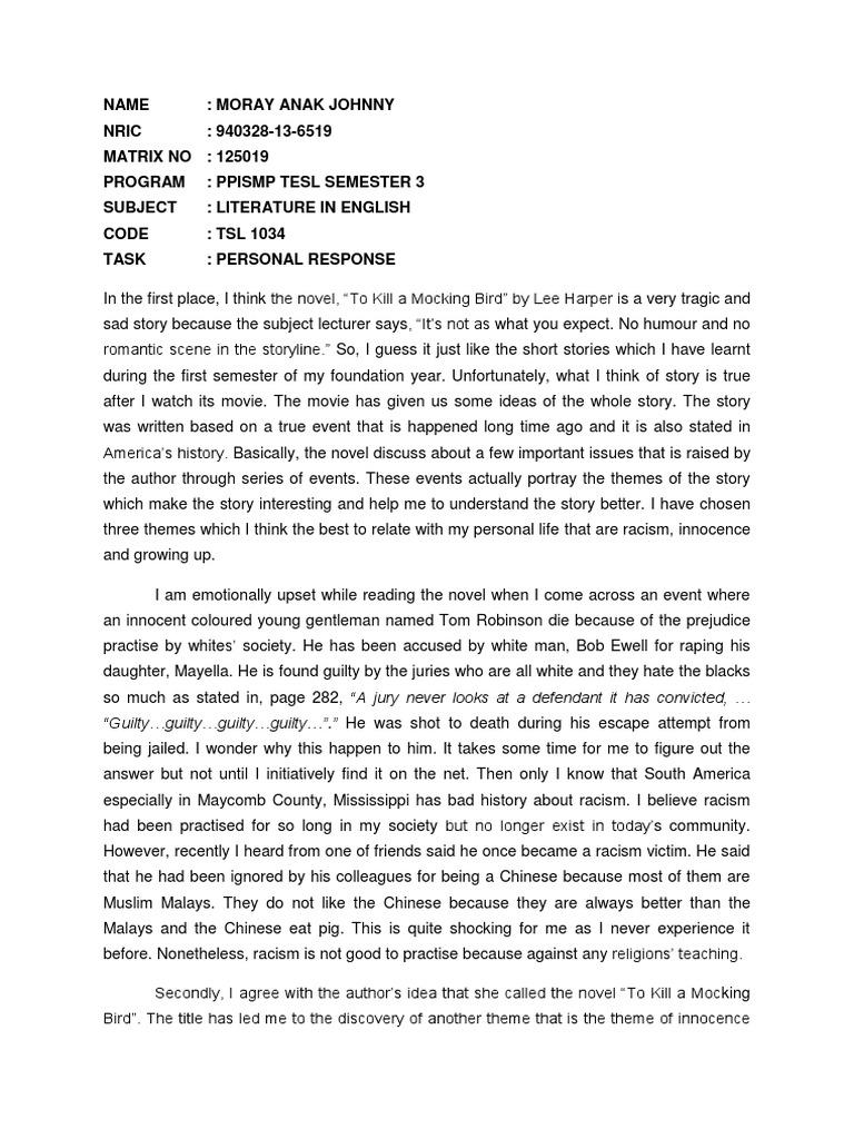 personal response tokillamockingbird  to kill a mockingbird  politics