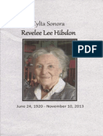 Program for memorial service for Revelee Lee Hibdon | 12 April 2014