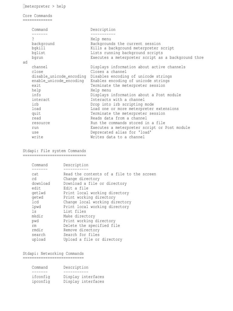 Meterpreter Commands For Android