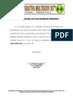 Certificacion de La Asamblea Ordinaria