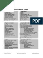 Effective Meeting Checklist