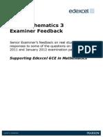 GCE Maths Examiner Feedback C3