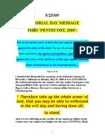 MEMORIAL DAY MESSAGE thru PENTECOST 2009 by Vanderkok