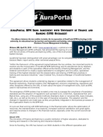 AuraPortal BPM Signs Agreement With University of Finance and Banking (UFB) Bucharest