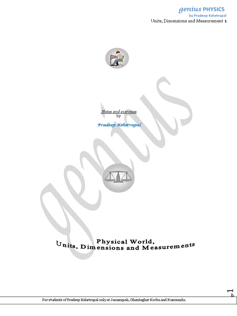 Physical World and Measurement Theory + Sample Problem by