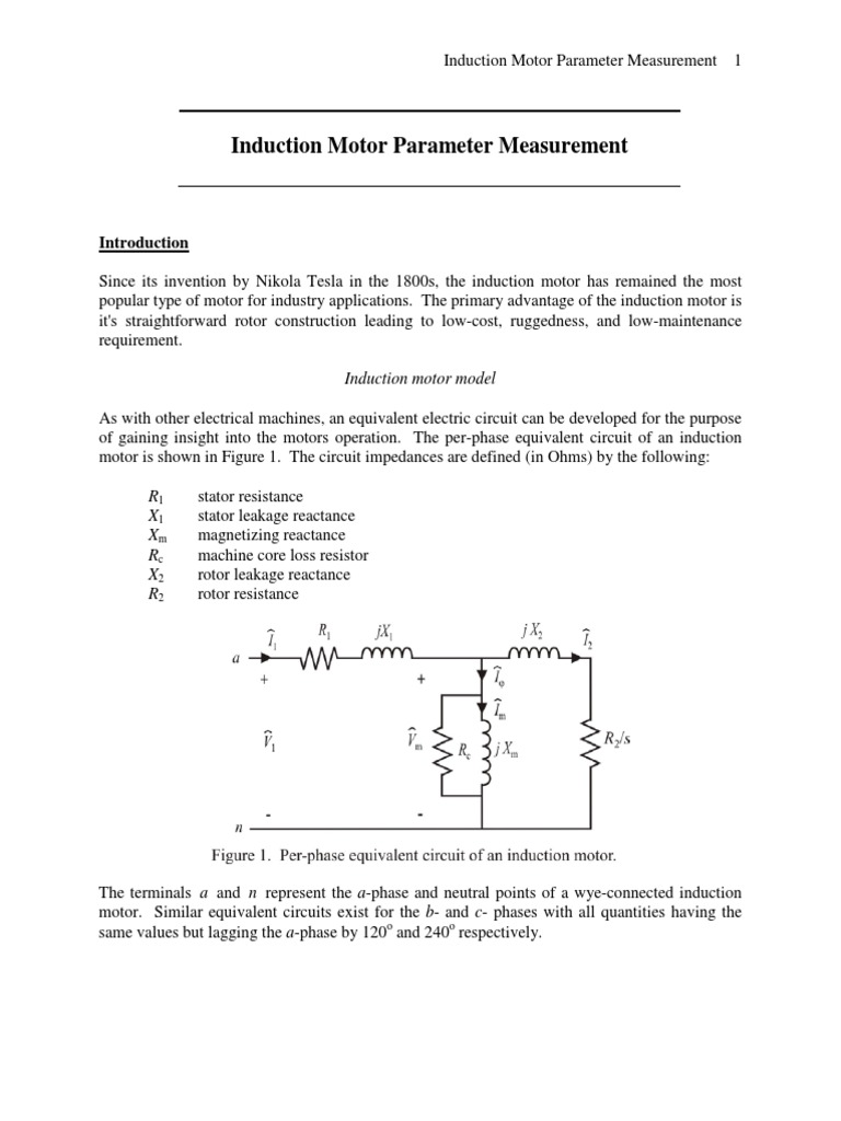 Induction Motor Parameter Measurement Electrical Impedance Measurements In Electric Circuits Manufactured Goods