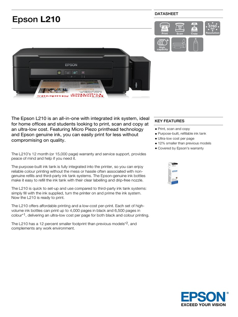 Epson L210 Datasheet | Printer (Computing) | Image Scanner