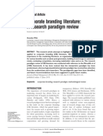 Corporate Branding Literature a Research Paradigm Review