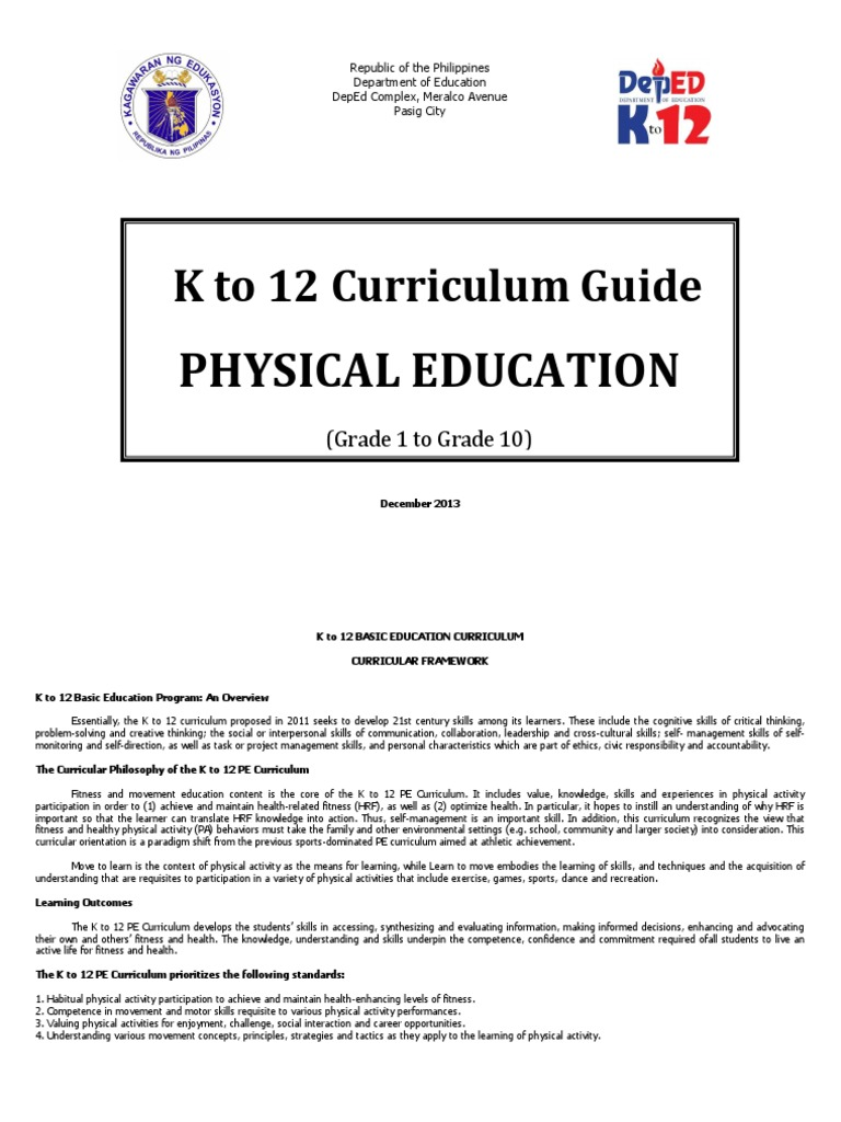 k to 12 physical education curriculum guide physical education rh scribd com mapeh k-12 curriculum guide grade 9 mapeh k 12 curriculum guide exam finals