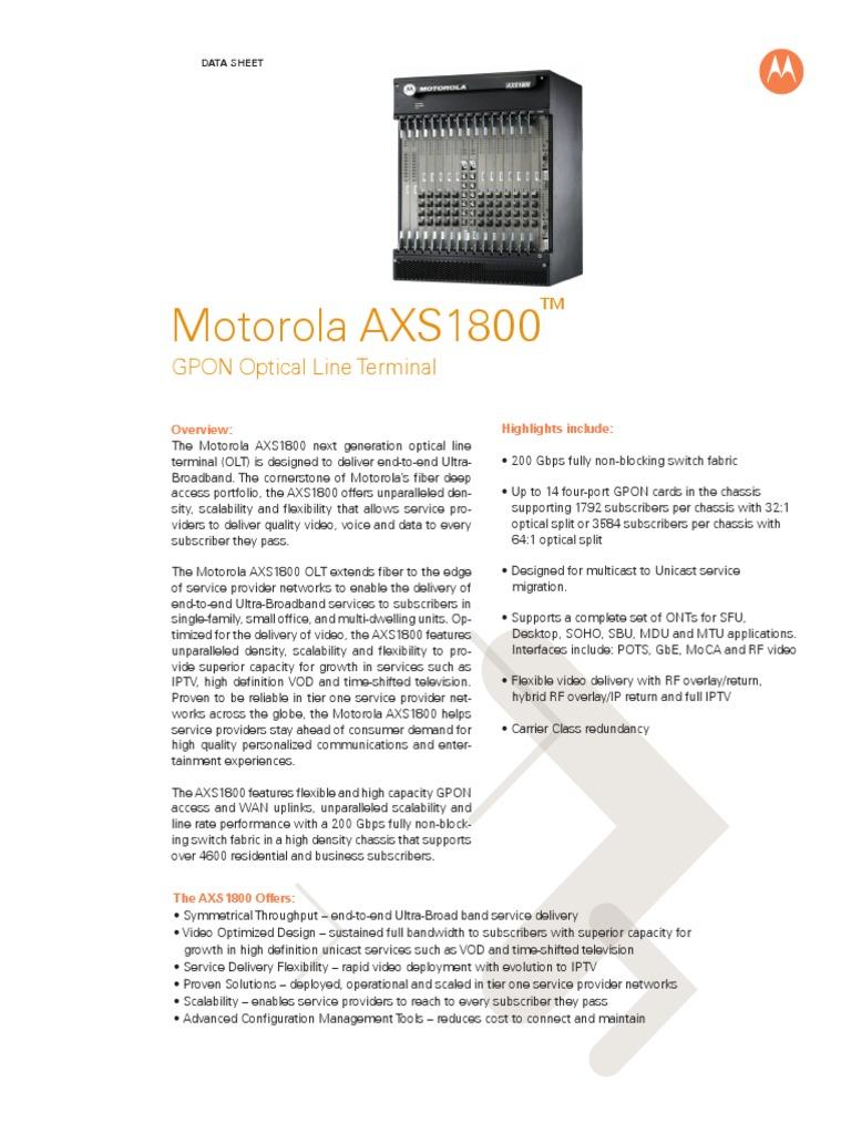 Motorola - Datasheet AXS1800 | Iptv | Video On Demand