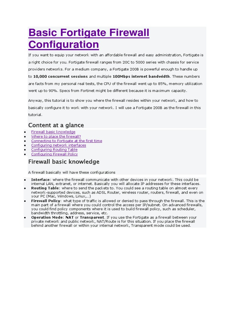 Basic Fortigate Firewall Configuration docx | Ip Address | Router