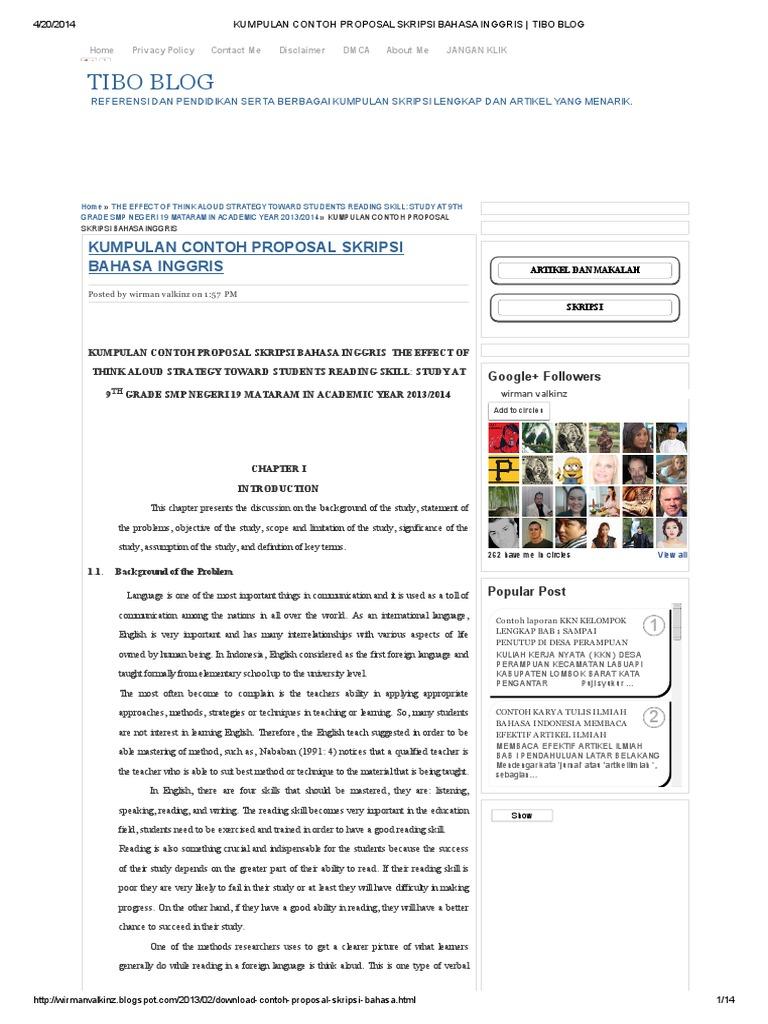 Proposal penelitian bahasa inggris | vocabulary | english language.