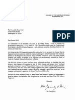 Republic of Korea Letter to Senate Majority Leader Harry Reid supporting passage of Borinqueneers Congressional Gold Medal Act.