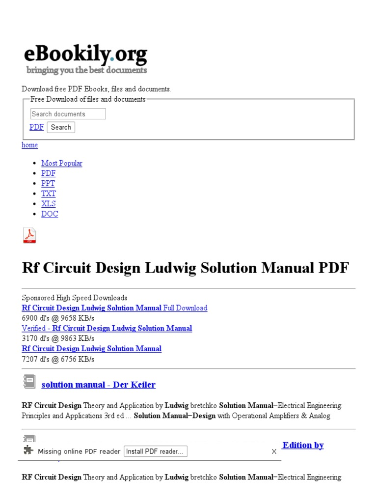 Rf Circuit Design Ludwig Solution Manual Free Pdf Downloads Radio Frequency Portable Document Format