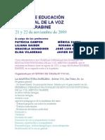 CURSO DE EDUCACIÓN FUNCIONAL DE LA VOZ