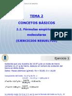 Tema 2 Problemas Formulas Empiricas y Moleculares