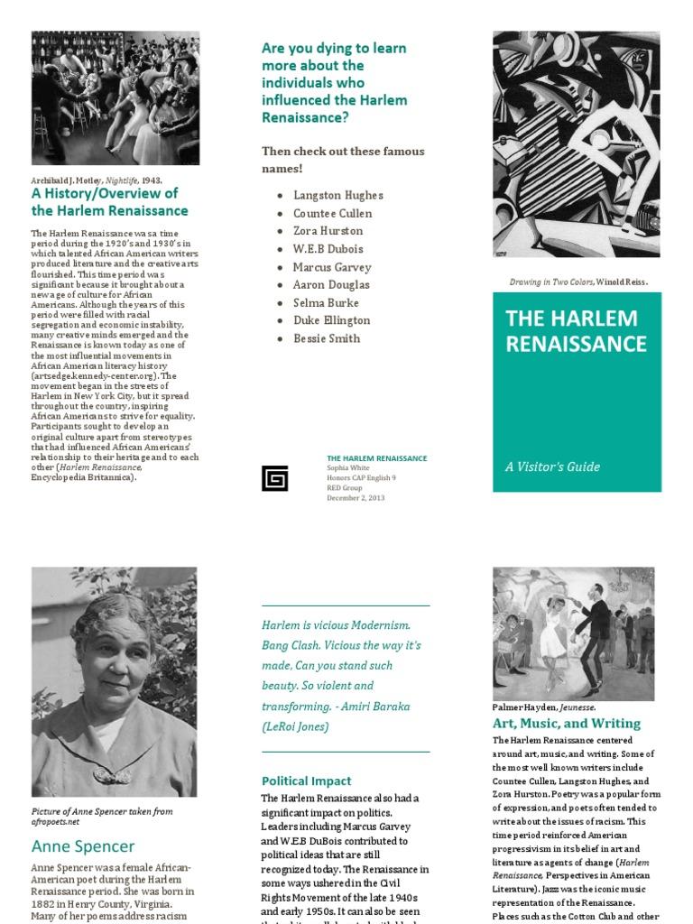Harlem Renaissance Brochure   Harlem Renaissance ...