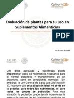 Evaluación Plantas Uso Suplementos Alimenticios COFEPRIS Tlaxcala 2014