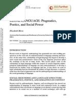 Legal Languaje Pragmatics Poetics and Social Power
