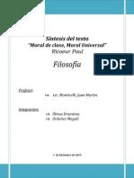 Síntesis Del Texto Moral de Clase Moral Universal de Paul Ricoeur
