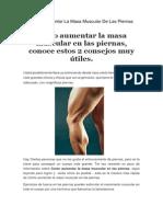 Como Aumentar La Masa Muscular de Las Piernas