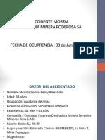 Accidente Mortal Acosta Seclen Percy Alexander ECM Servicios Mineros Tena SAC